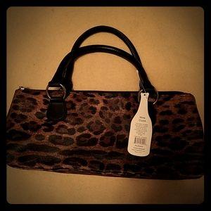 Insulated wine clutch leopard print